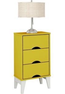 Criado-Mudo Twister 3 Gv Amarelo E Branco