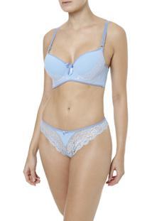 Conjunto De Lingerie Feminino - Feminino-Azul