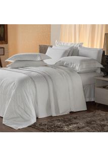 Jogo De Cama Queen Plumasul Premium Harmonious 4 Pçs Bordado Branco