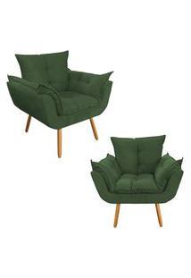 Kit 02 Poltronas Decorativa Opalla Pés Palito Suede Verde - Ds Móveis