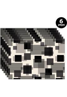Jogo Americano Mdecore Geométrico 40X28Cm Bege 6Pçs