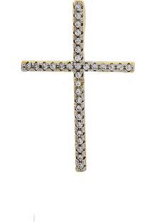 Pingente Narcizza Semijoias Cruz Cravejada Com Zircônia Cristal - Ouro - Kanui