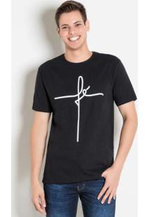 Camiseta Preta Com Estampa Fé