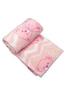 Cobertor Prime Flannel Hazime Urso Rosa