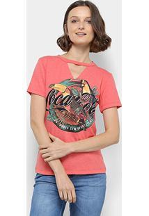 Camiseta Coca-Cola Estampada Decote V Feminina - Feminino-Vermelho