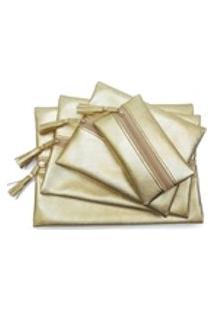 Kit 4 Necessaires Porta Makes Prada Dalulus - Ouro