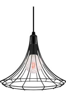 Pendente Aramado Preto Com Lâmpada Filamento Led Conde G90 Sl2488 Toplux - Kanui