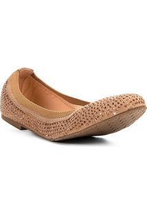 Sapatilha Couro Shoestock Bico Redondo Hot Fix Feminina