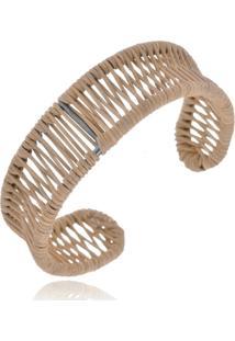 Bracelete Le Diamond Fios De Couro Marrom - Kanui