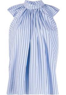 Victoria Victoria Beckham Blusa Listrada Com Pregas Nos Ombros - Azul