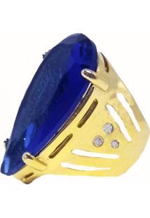 Anel Visujoias Pedra Azul Folheado A Ouro 18K Tam.16
