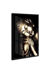 Quadro 75X50Cm Buda Sabedoria Moldura Com Vidro Decorativo Interiores - Oppen House