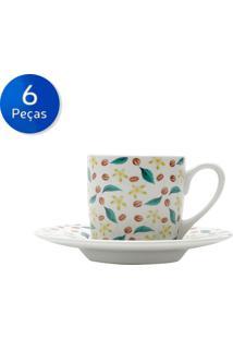 Conjunto De Xícaras Para Café Com Pires 6 Peças 90 Ml Grains-Bon Gourmet - Branco