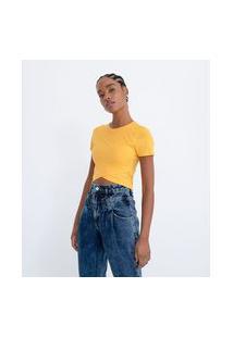 Blusa Cropeed Básica Em Viscose Com Transpasse Na Barra   Blue Steel   Amarelo   P