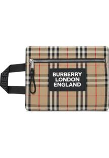 Burberry Logo Detail Vintage Check Portrait Pouch - Neutro