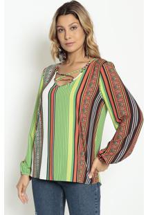 Blusa Com Tiras Frontais - Verde & Vermelha - Morenamorena Rosa