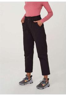Calça Feminina Slouchy Em Jeans De Algodão Preto