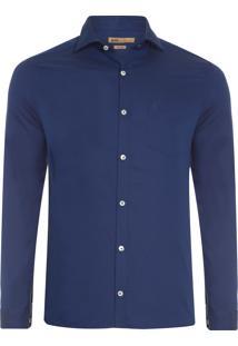 Camisa Masculina Maquinetado - Azul