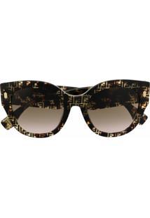 Fendi Eyewear Óculos De Sol Roma Com Estampa Ff - Preto