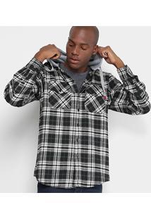 Camisa Xadrez Opera Rock Com Capuz De Moletom Masculina - Masculino-Branco+Preto