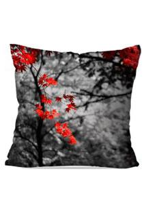 Capa De Almofada Avulsa Decorativa Folhas Vermelhas 45X45Cm