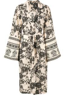 Johanna Ortiz Sobretudo Estilo Kimono - Branco