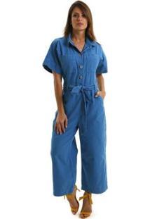 Macacao Equivoco Nova York Feminino - Feminino-Azul