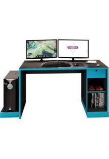 Mesa Para Computador Notebook Desk Game Drx 3000 Preto/Azul - Móveis Leão