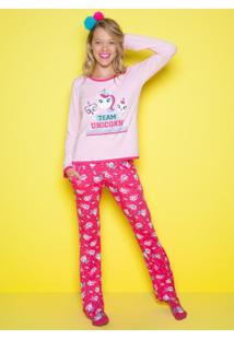 Pijama Visco Unicórnio Adulto Puket - Feminino-Rosa