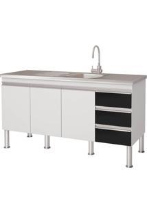 Gabinete Para Cozinha Em Mdp Ibiza 80X143,5Cm Branco E Preto