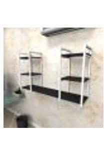 Estante Industrial Escritório Aço Cor Branco 120X30X68Cm (C)X(L)X(A) Cor Mdf Preto Modelo Ind31Pes