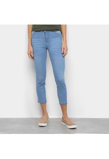Calça Jeans Skinny Estonada Cintura Média Feminina - Feminino