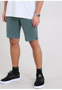 Bermuda De Sarja Masculina Slim Com Bolsos Verde
