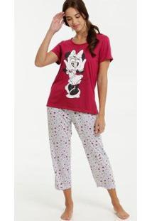 Conjunto De Pijama Disney Estampa Minnie Feminino - Feminino-Vermelho