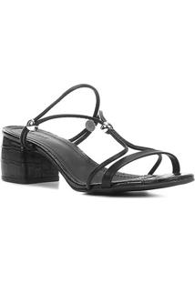 Sandália Shoestock Tiras Salto Bloco Médio - Feminino-Preto