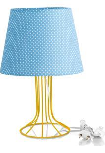 Abajur Torre Dome Azul/Bolinha Com Aramado Amarelo