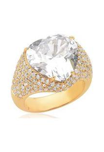 Anel Banho Ouro 18K Pedra Coração Zircônias Cravejadas