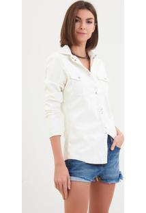 Camisa John John Crincke Couro Fake Off White Feminina (Off White, G)