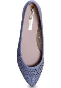 Sapatilha Moleca Bico Fino Jeans Feminina - Feminino-Azul