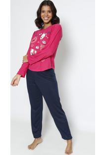 Pijama Animais- Pink & Azul Escuro- Zulaizulai