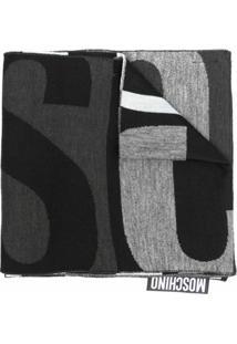 Moschino Cachecol De Lã Mista Com Estampa De Logo - Cinza