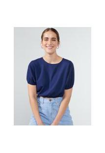 Amaro Feminino Blusa Cropped Detalhe Elástico, Azul Marinho