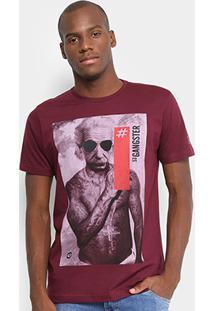 Camiseta Gangster Einstein Masculina - Masculino-Vinho