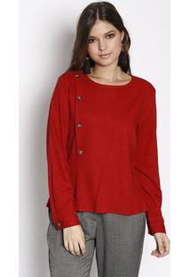 Blusa Em Linho Com Sobreposiã§Ã£O- Vermelha- Susan Zhesusan Zheng