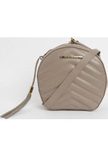 Bolsa Em Couro Matelass㪠Com Bag Charm- Bege Escuro-Di Marlys