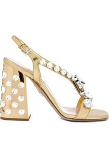 Miu Miu Sandália Com Aplicações - Dourado