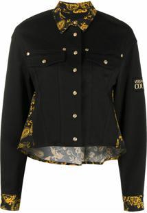 Versace Jeans Couture Jaqueta Jeans Com Estampa Paisley Barroca - Preto