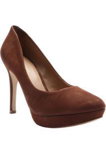 Sapato Meia Pata Em Couro Nobuck- Marrom Escuroarezzo & Co.