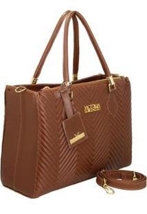 Bolsa Handbag Matelassê Triangle De Mão Zíper Feminina - Feminino-Marrom