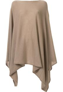 Agnona Blusa Oversized Assimétrica De Tricô - Marrom